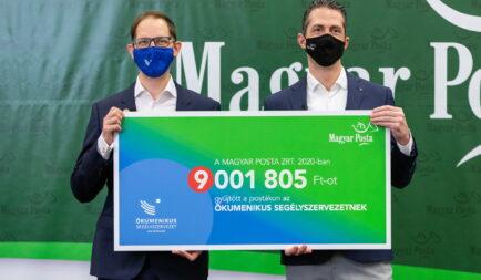 9 millió forint adományt gyűjtött a Posta az Ökumenikus Segélyszervezetnek