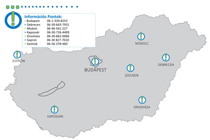 Információs pontok az ország 7 városában